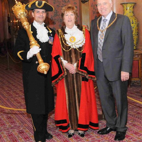 Mace Bearer Robert Robertson, and the newly appointed Mayor and Consort at the Mayor Making Reception in the Royal Pavilion | Photo by Tony Mould