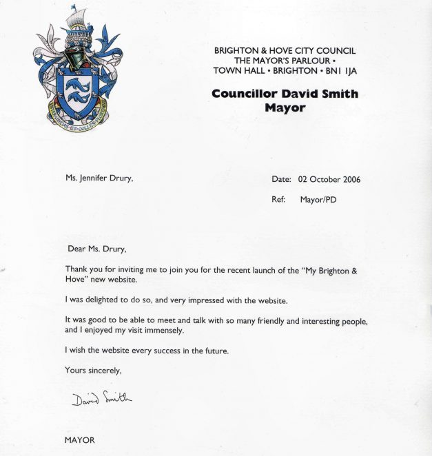 Congratulations from the Mayor of Brighton and Hove for the September 2006 relaunch