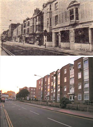 Top, Upper St. James's Street c.1971, bottom dusk over Hampshire Court 2008   From the private collection of Peter Groves