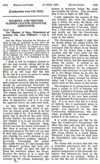 Minutes of the Parliamentary Debate, from 19th July 1976, to authorise financial assistance to Kearney & Trecker Marwin: Click to open a large version in a new window | Copy from the private collection of Peter Groves