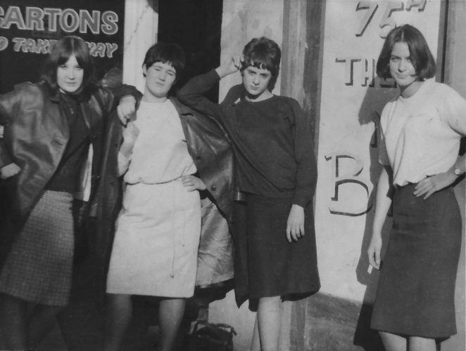Modettes, with Attitude, L to R, Janet ?, Pam Kirby, Isabella (Sue) Hudson, Sheila Webster | From the Private Collection of Isabella (Sue) Hudson