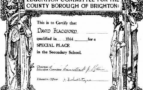 11 Plus certificate 1944