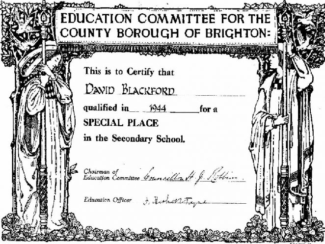 11 Plus certificate | From the private collection of David Blackford