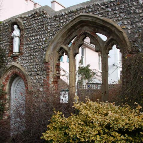Sham ecclesiastical window in the garden of Port Hall. | Photo by Tony Mould