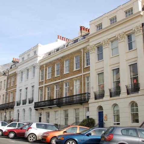 Yellow brick and Corinthian pilasters in Portland Place   Photo by Tony Mould