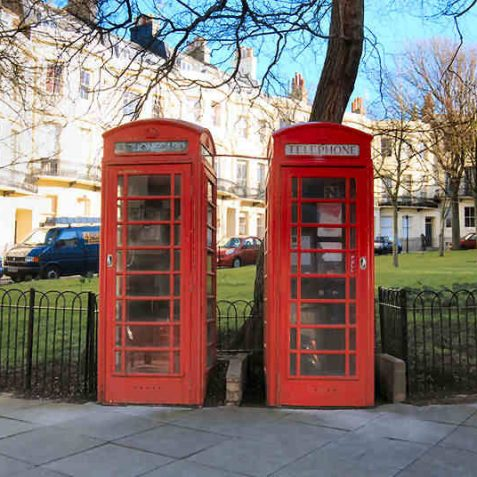 These two K-6 telephone kiosks in Powis Square are listed buildings | Photo by Tony Mould