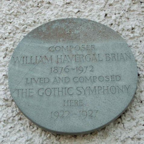 Plaque regarding William Havergal Brian | Photo by Tony Mould