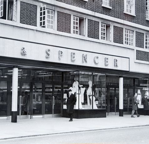 Marks and Spencer's premises at 6, 7 & 8 London Road, west side, early in 1966. Marks started in London Road in small premises at 43/44 in 1927 but soon outgrew these, so they had this building built and opened in 1935. The firm occupied it for 51 years until being closed on 26 July 1986, when the business was concentrated at the Western Road store. | Image reproduced with kind permission of The Regency Society and The James Gray Collection