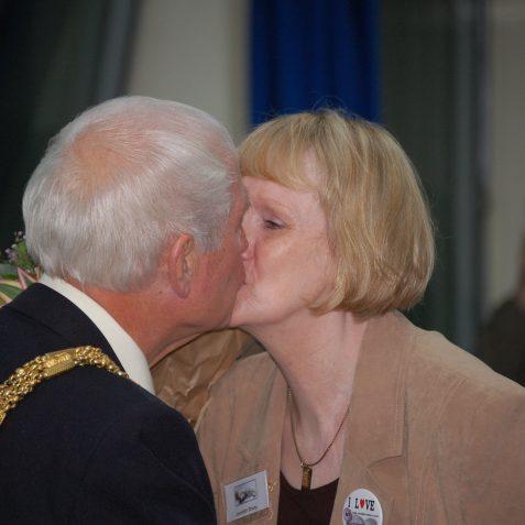 Jennifer gets a congratulatory kiss from the Mayor Councillor David Smith | Photo by Tony Mould
