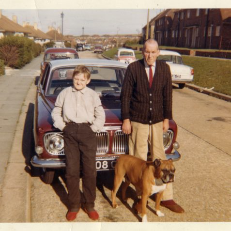 Me and my Dad with Rinty our boxer dog. | From the private collection of Stephen Raynsford