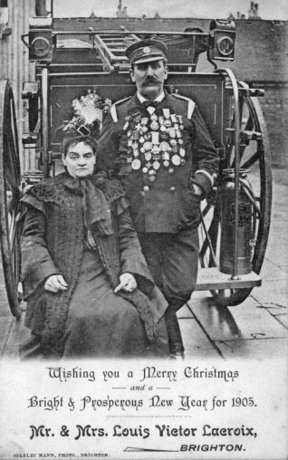 Inspector Louis Victor La Croix, of the Brighton Police Fire-Brigade and his wife | From the private collection of Councillor Geoffrey Wells