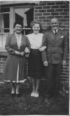 Nancy with parents in 1946 outside 91 Godwin Road | From the private collection of Nancy Kersey nee Pelling