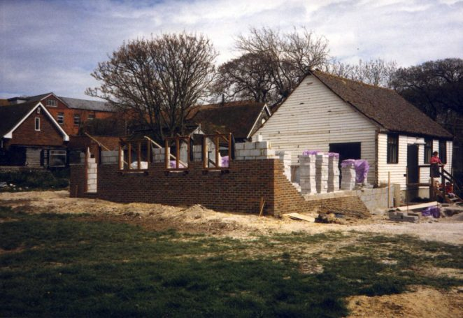 What was left of the old village club and showing the beginnings of the new buildings | ©Jennifer Drury