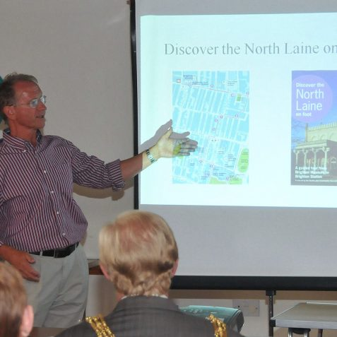 Geoffrey Mead, who produced the text for the history trail gives a short history | Photo by Tony Mould