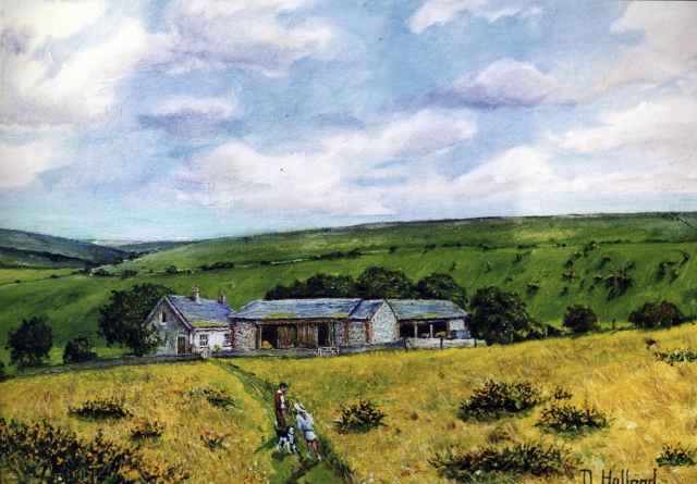 Newmarket Farm - from a childhood memory - painted by Douglas Holland | From the private collection of Peggy Cuthbertson
