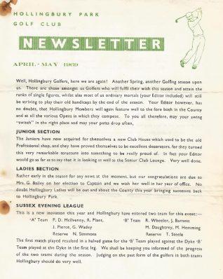 1969 Golf Club Newsletter   HPGC Archive