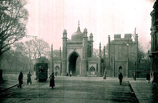 Tram at North Gate, Royal Pavilion c.1910 | Scanned from original copy of