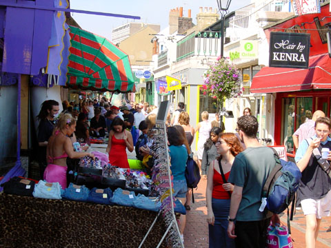 Photo of typical North Laine shops | Image reproduced by kind permission of www.imagesbrighton.com