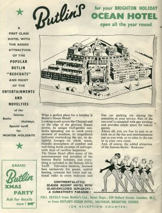 Advertising leaflet showcasing the Butiln's Ocean Hotel c. 1950s. | From the private collection of Tony Drury