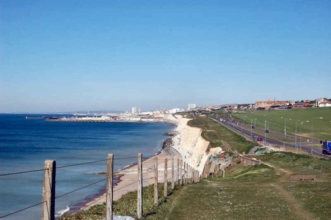 The Undercliff Walk, the road to Ovingdean is on the right   Photo by Tony Mould
