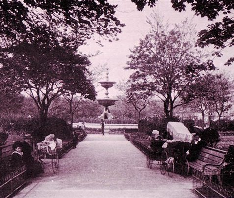 View of Old Steine Gardens | Scanned from an original copy of '67 Views of Brighton, Hove and Neighbourhood', circa 1910, by kind permission of David Burgess
