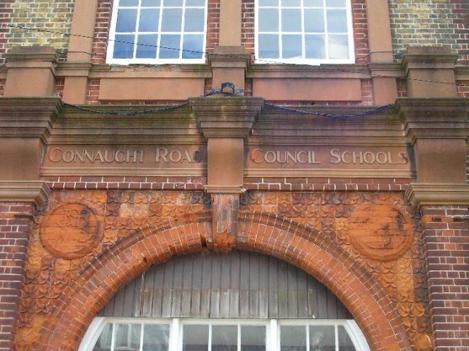 Connaught Road School, above main enterance | Photo by Peter Groves