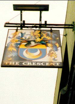 Photograph of the sign for The Crescent pub