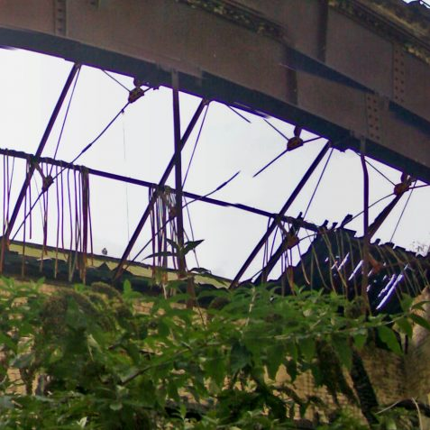 Roof detail of the burnt-out northern end.   Photo by Ghost Trains