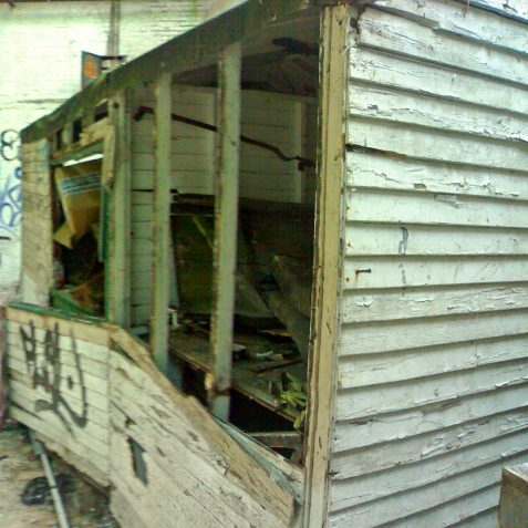 This is the Foreman's Hut and stands against the Northern wall of the Train Running Shed. It is in suprising condition seeing that it has remained relatively untouched for 40 odd years.   Photo by Ghost Trains