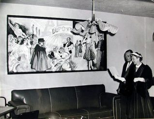 Mrs Arnold and guest viewing a rather bawdy mural of Montmartre in Paris | Sports Stadium Brighton Archive