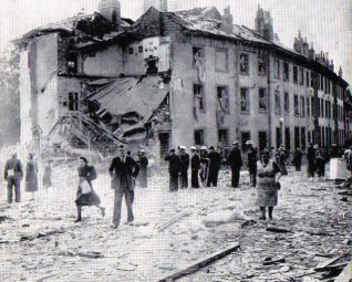 Photo of the bombing of Park Crescent | From the private collection of Peter Groves