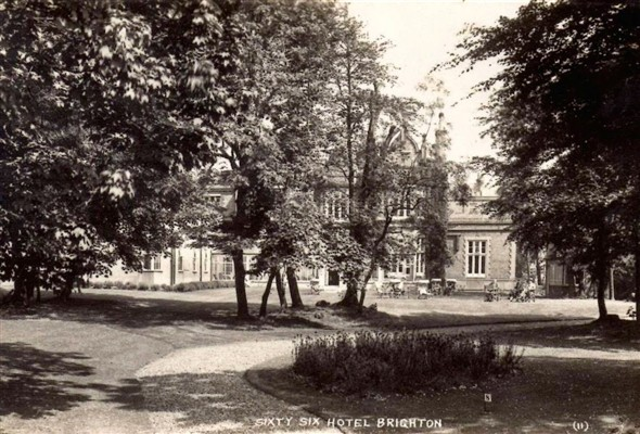 The grounds behind the hotel in the 30s. Behind the photographer was a pond, the gardens becoming progressively more wild and wooded.   From the private collection of Mark Thompson