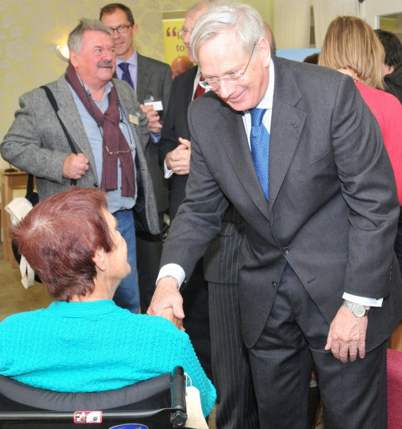 HRH Duke of Gloucester chats to a resident of Patching Lodge | Photo by Tony Mould