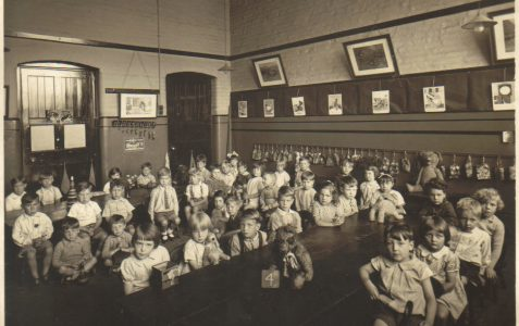 Children in a classroom in the 1930s