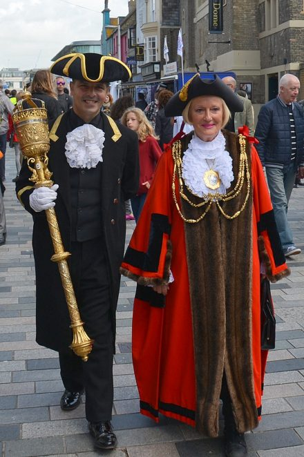 The Mayor and Robert mingling with the crowds in New Road | Photo by Tony Mould