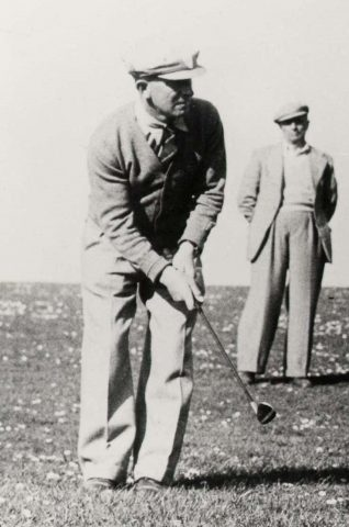 H 'Pim' Neller playing a chip shot | Private collection of John Knight