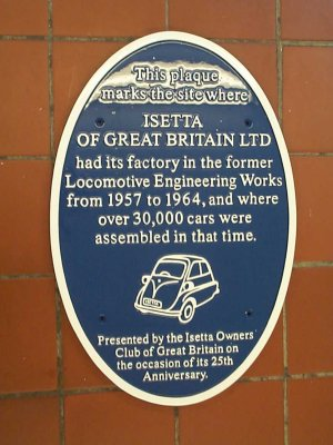 Plaque marking the site of Isetta factory, 1957-64 | Photo by Richard Jones