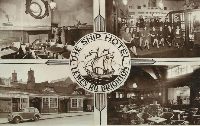 Postcard of The Ship Hotel, Lewes Road | From the private collection of Roy Grant