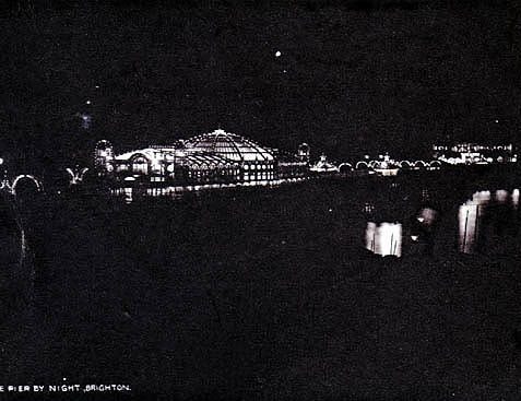 Old postcard showing Palace Pier by night | Scanned with kind permission from the private collection of David Burgess