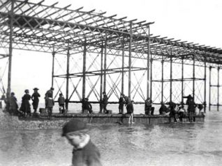 Image shows the substructure of the Palace Pier being erected, c1893 | Image from the 1994 My Brighton museum exhibit