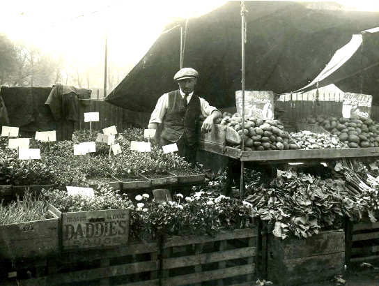 Frank Parrett on his stall at The Level c1935 | From the private collection of Dennis Parrett