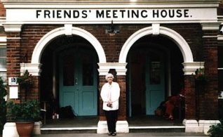 Pat outside the Friends' Meeting House | Photo by Sara Kirkpatrick