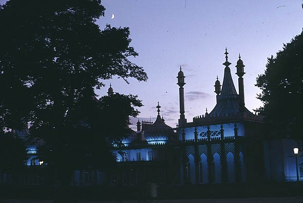 Royal Pavilion at night,1970s | Photo by local photographer Ray H.