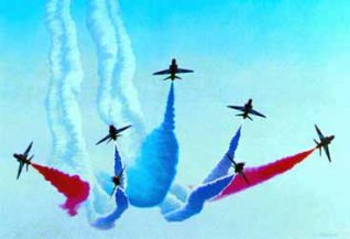 Red Arrows over Brighton | Painted by Philip Dunn