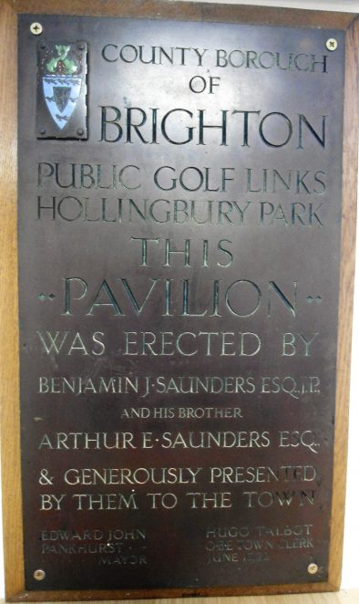 Commemorative plaque from the outside of the 'old' clubhouse - now housed in the mens locker room at HPGC | Private collection John Knight