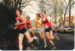 Boxing Day race in Preston Park, with the author, Peter Crowhurst in the yellow   Photo by Peter Crowhurst
