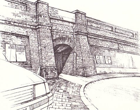 (Postcard) Entrance to Preston Park Railway Station | Pen and Ink drawing by Joseph Di Giuseppe