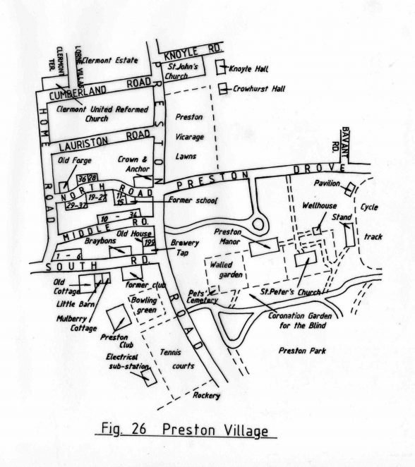 Map of Preston Village | Reproduced with permission from the Encyclopaedia of Brighton by Tim Carder, 1990