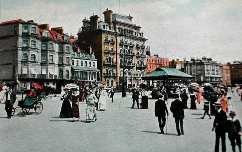 Victorian postcard: 'Promenading on the sea-front'