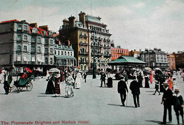A postcard showing 'Promenading on the seafront' | From the private collection of Trevor Chepstow